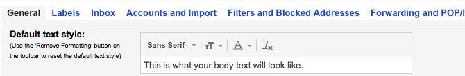 De texto al estilo Gmail