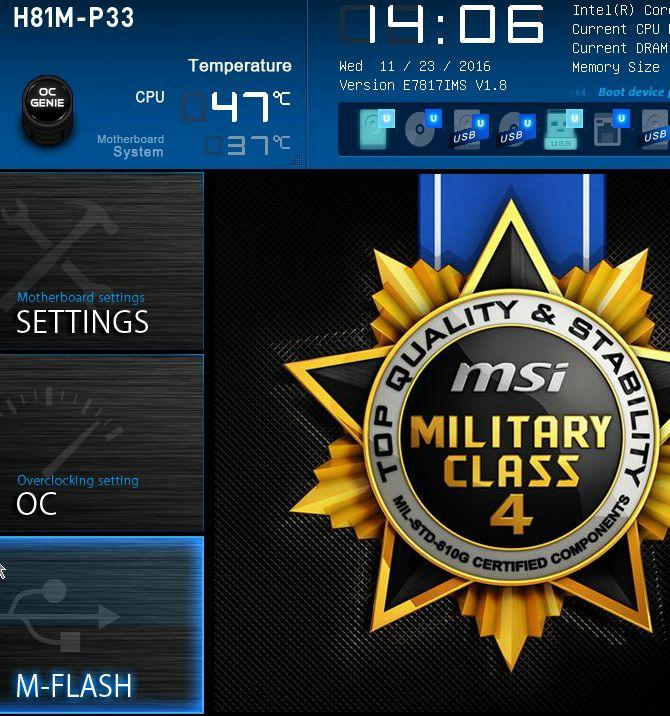 pantalla de la BIOS