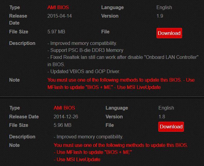 actualizaciones de BIOS