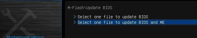 seleccione la versión del BIOS