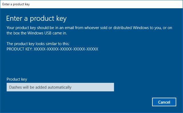 actualizar a la clave de producto Pro