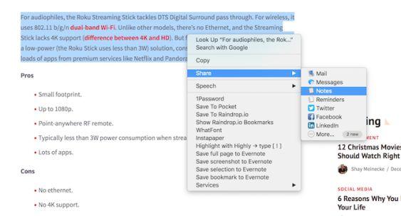 Compartir notas de manzana Safari botón derecho del ratón