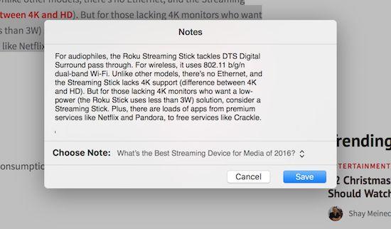 Compartir notas de manzana Safari del botón derecho emergente
