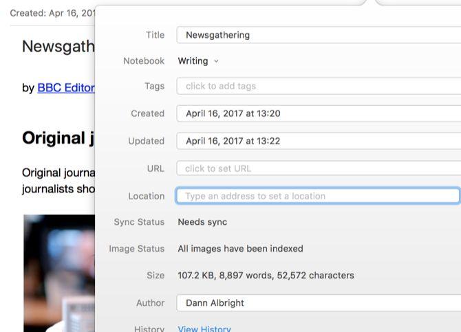 gestión de proyectos Evernote consolidó notas