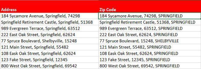 direcciones de formato Excel
