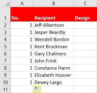 primer llenado Excel
