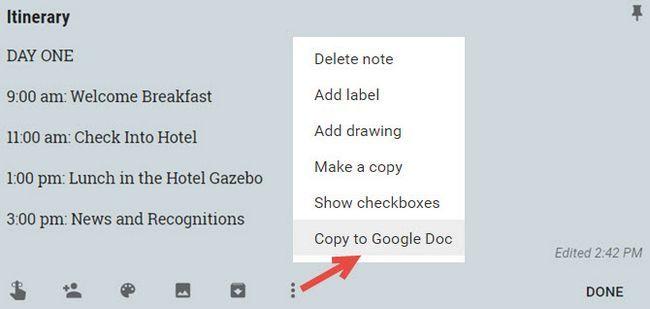 Google Keep eventos de copia de documentos