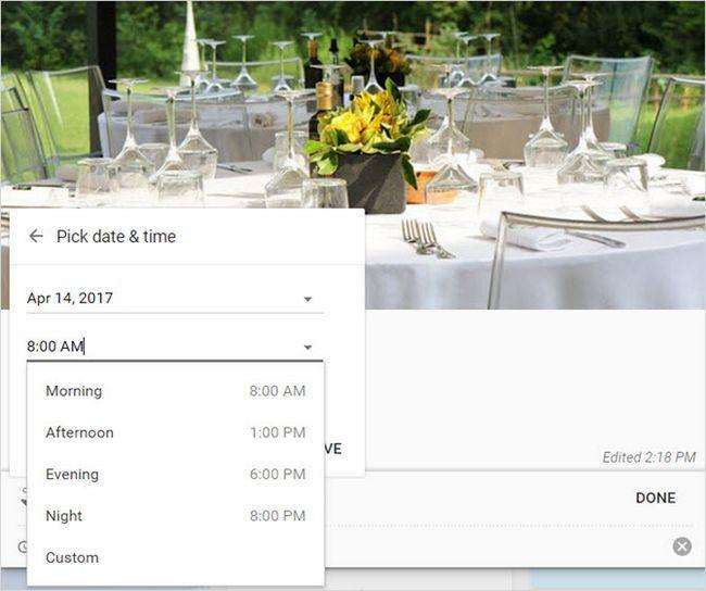 Google Keep centro de eventos recordatorio