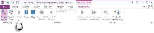 Grabación de audio o vídeo notas