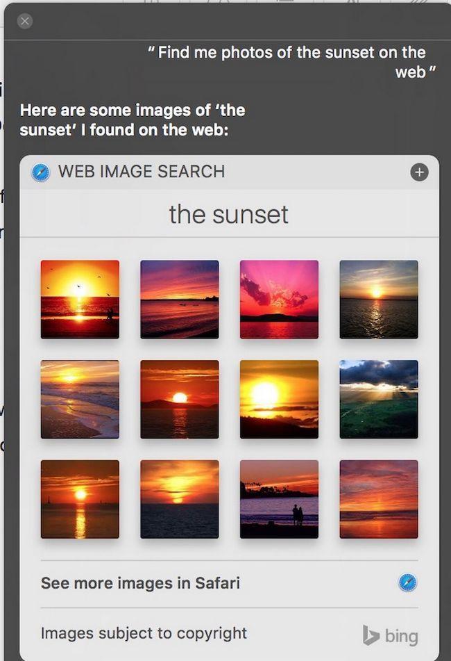 Siri ver una fotografía de la puesta del sol en la Web