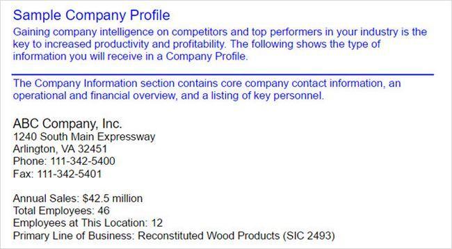 perfil de la empresa de la muestra