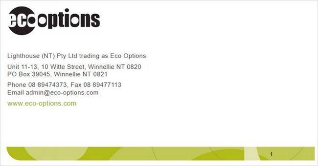 opciones ecológicas compañía muestra el perfil