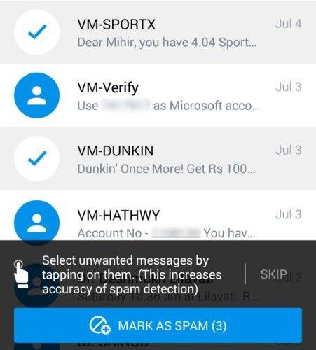 Truemessenger-identificar-desconocido-texto-mensajes-filtro-spam-sms-primera-vez-spam-ejercicio