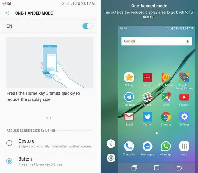 Samsung TouchWiz con una sola mano el modo de