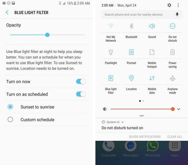 Samsung TouchWiz filtro de luz azul