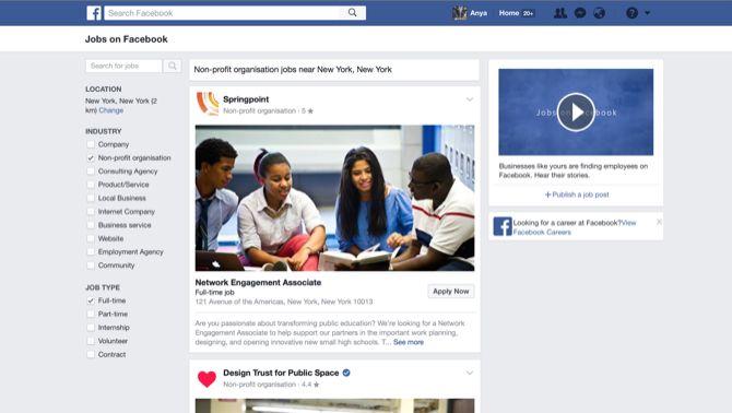 Facebook Empleo pantalla