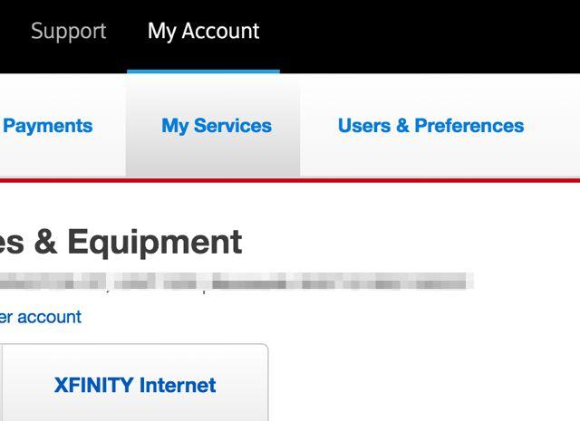 XFINITY por cuenta de servicios