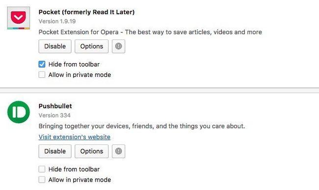 Opera botón Ocultar barra de herramientas