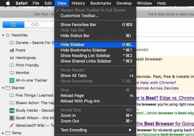 Safari ocultar barra lateral