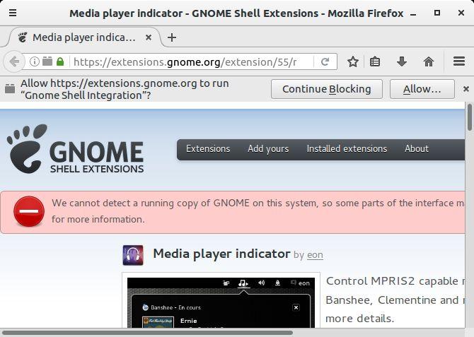 advertencia Gnome Shell Integración