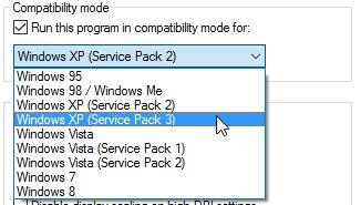 propiedades de compatibilidad se ejecutan en la versión de Windows