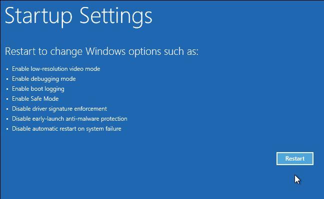 Configuración de Windows 10 opciones de arranque avanzadas de inicio