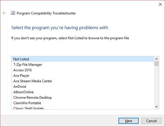 ejecución del programa no aparece