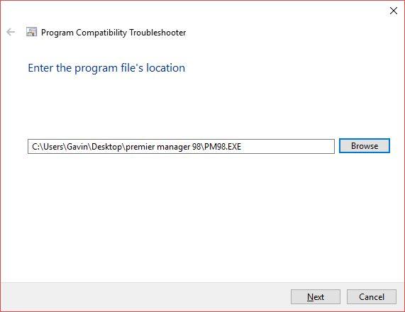 run-programa de navegar a archivo