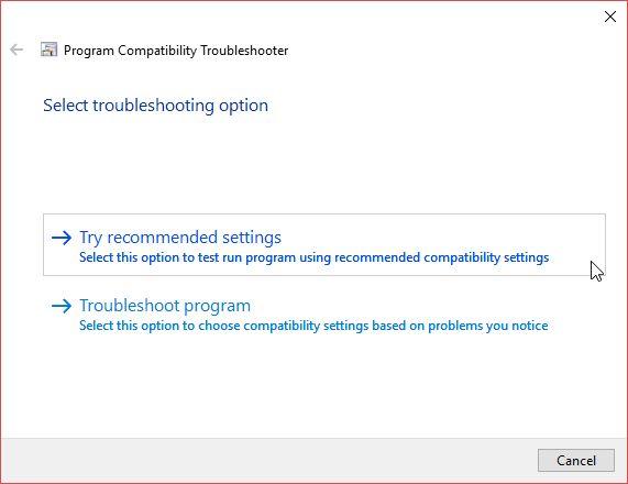 Usar configuración de ejecución de programa recomendados