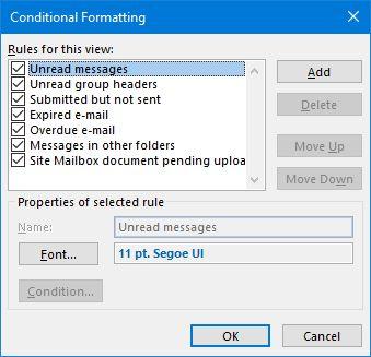 Outlook-condicional de formato