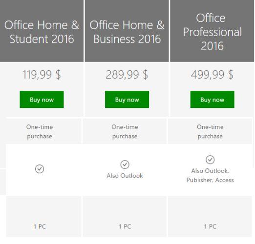 oficina 2016 precio