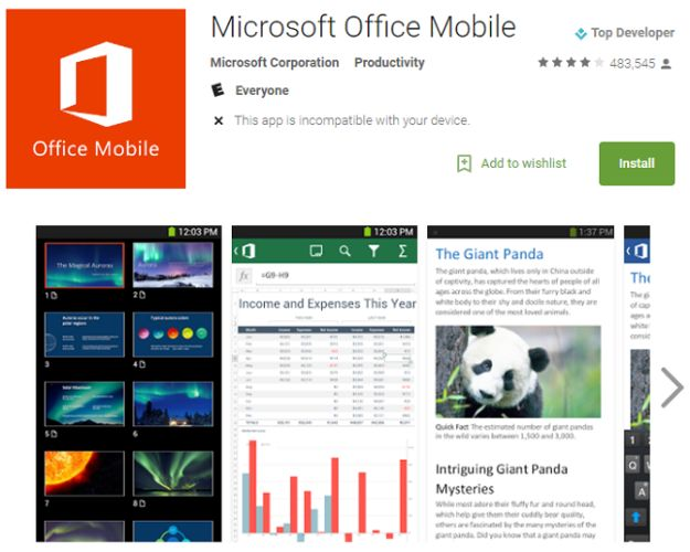 oficina de aplicaciones de Android
