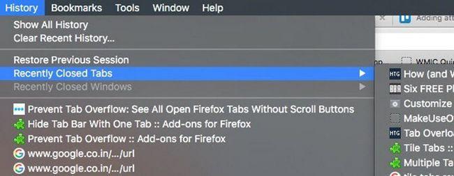 Firefox cerrado recientemente pestañas