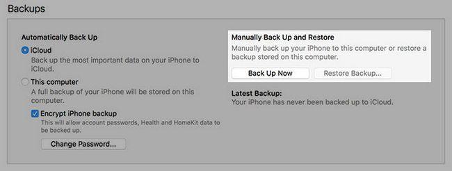 manualmente una copia de seguridad y restauración de iPhone