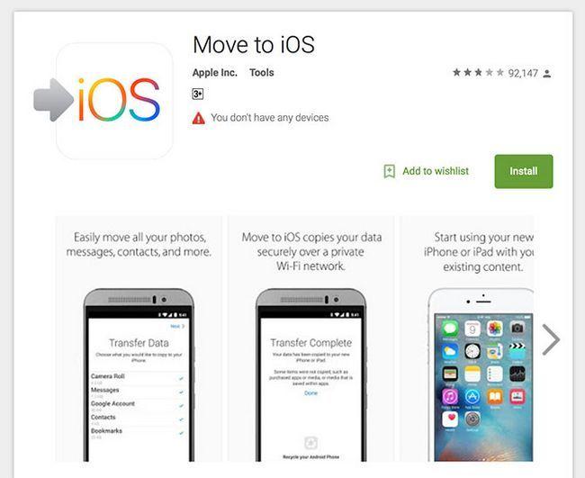 mover a IOS aplicación Android