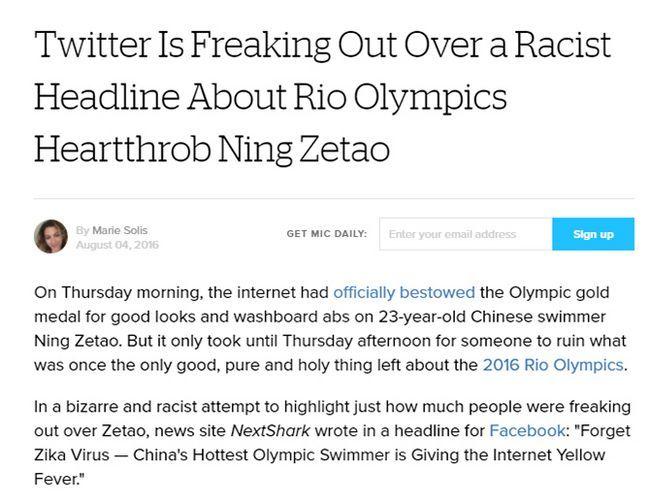 Twitter racista Juegos Olímpicos de Headline instantánea
