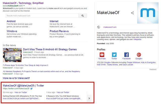 MakeUseOf los resultados de Google