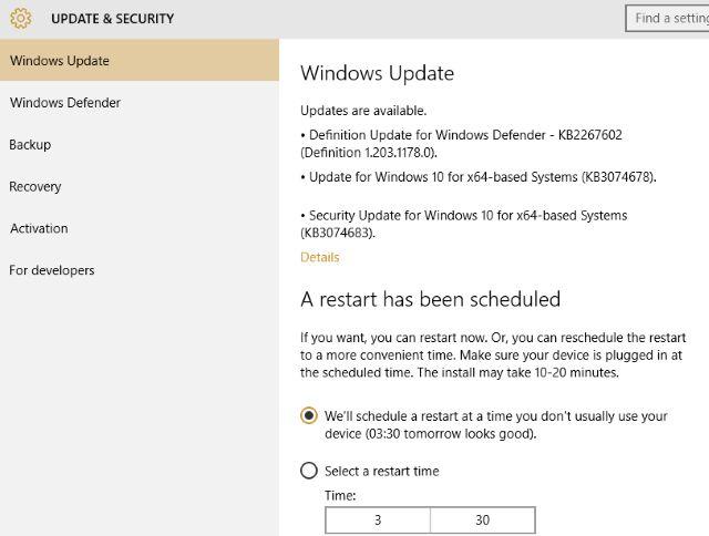 Ransomware Windows 10 Programación de actualización