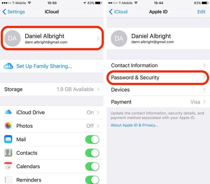 Ajustes de seguridad de iCloud en iOS