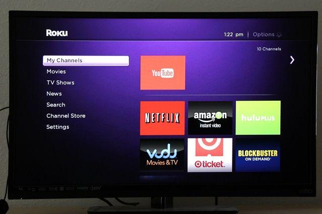 Roku streaming de aplicaciones de interfaz de revisión palo