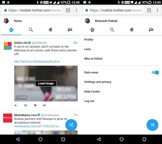 Lite Android aplicaciones sencillas de Twitter