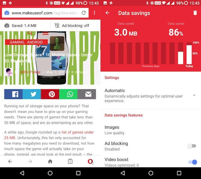 Lite Android opera mini