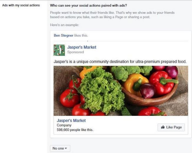 facebook acción social anuncio