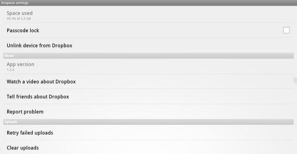 Dropbox aplicación para Android