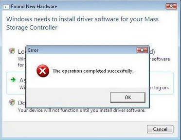 El éxito de errores de Windows