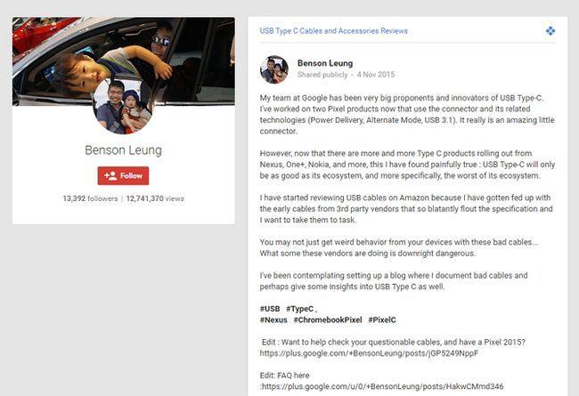 Benson Leung USB C Google Plus Publicar