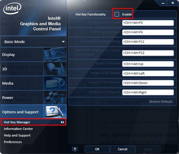 Los gráficos Intel deshabilitar teclas de acceso rápido