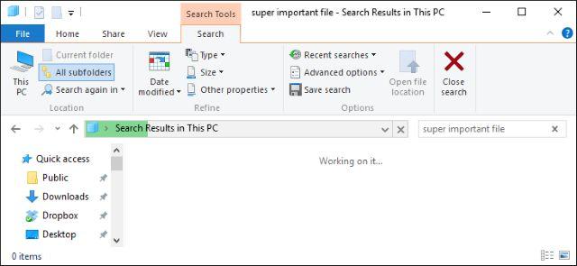la búsqueda de archivos