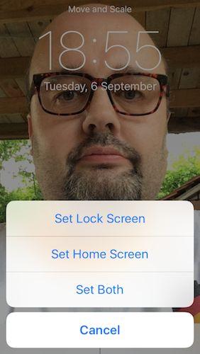 Protectores de la aplicación Fotos de Set como bloqueo o pantalla de inicio