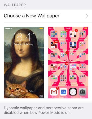 Configuración de iPhone elegir un nuevo fondo de pantalla